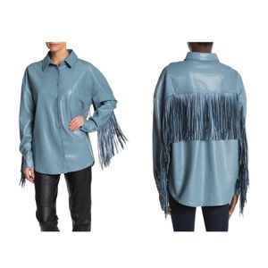 TOV Fringe Shirt Jacket Faux Leather Long Sleeve